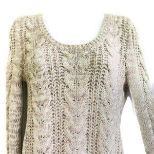 Free People Chunky Knit Sweater Chain Crew Scoop S